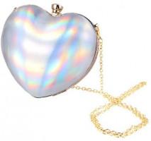 FENICAL Handbag Heart Shaped Crossbody Bag Buckle Evening Clutch Cute Mini Chain Purse for Women Lady (Pink): Handbags