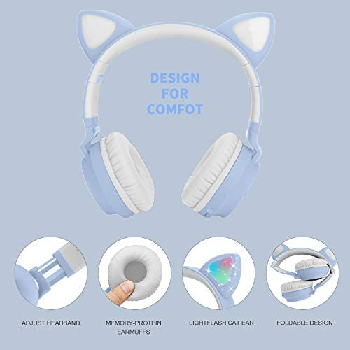Kids Cat Ear Headphones,Wireless Bluetooth Headphones with Flashing Led Light, SD Card Slot, FM,3.5 mm Audio Jack Wired Kids On Ear Headphones for Boys Girls Adults(Pink): Home Audio & Theater