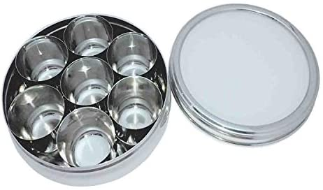 Stainless Steel Transparent Lid Masala Box 7 Container with 7 Spoon Spice Box, Kitchen Spice Box Spice Box Indian Masala Dabba: Kitchen & Dining