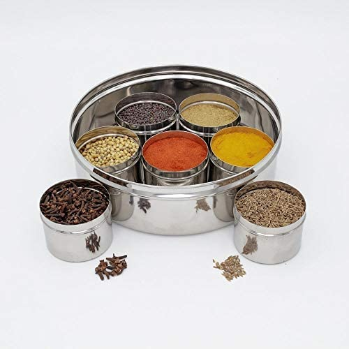 King International Stainless Steel Indian spice box, Indian Masala See Through Spice Shakers, masala box, steel masala dabba, Spice organizer with 7 spice containers size 8 X 8 inches.: Home Improvement
