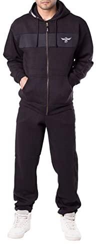 Mens Fleece Warm Sports Jogging Tracksuit Top & Bottoms Set at Men's Clothing store