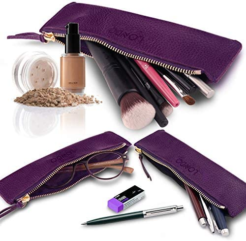 Londo Zippered Genuine Leather Pen and Pencil Case (Purple), (Model: OTTO252) : Office Products