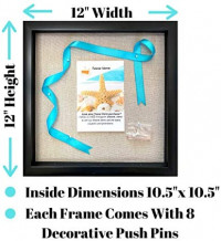 Tasse Verre 12x12 Display Shadow Box Frame with Linen Background and 8 Stick Pins - Large Shadowbox Picture Frame - Box Display Frame, Baby & Sports Memorabilia, Uniforms, Military Medals, Wedding