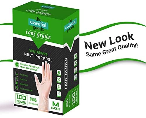 The Essential Goods Disposable Vinyl Gloves | Medium Size | 100 Count | Non Latex Powder Free | Ultra Strong Non Sterile | For Home, Office, Kitchen, Cooking, Everyday Use: Health & Personal Care