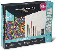 Prismacolor Premier Soft Core Pencils Adult Coloring Book Kit with Blender, Illustration Marker, Eraser, Sharpener and Coloring Booklet, 25 Pieces : Office Products
