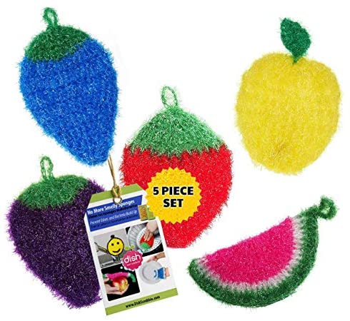 Dish Scrubber for Dishwashing (5 PK Mix) | Net Cloth Scrubber/Washcloth/Dish Rag Cloths | No Mildew Odor Smell Like Sponge or Dishcloths | Stocking Stuffers for Women Mom: Health & Personal Care
