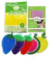 Dish Scrubbie Variety 5 Pack with Non-Scratch Scouring Pad and Sponge Cloth Set: Health & Personal Care