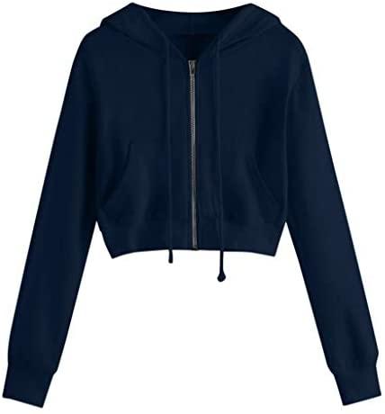 Kexdaaf hoodies Crop Hoodie for Teen Girls Casual Long Sleeve Zip Up Pullover Sweatshirt Lovely Hooded T-Shirt: Clothing