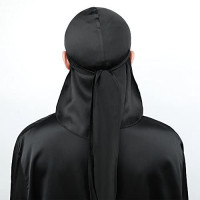 LilySilk Pure 100 Silk Durag for Men Black Extra Long Tail Wide Straps for 360,540 and 720 Waves, Silk Wave Cap: Clothing