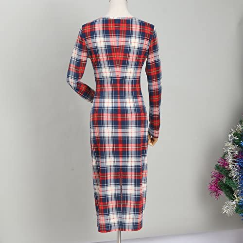PopReal Mommy and Me Outfits Stretchy Plaid Christmas Dresses Long Sleeve Family Matching Outfits: Clothing