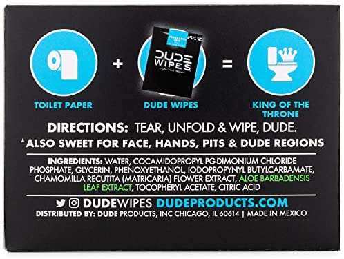 DUDE Wipes Flushable Wipes (48 Count Dispenser and 30 Single Wipes) Individually Wrapped & Dispenser Natural Unscented with Vitamin-E & Aloe: Computers & Accessories