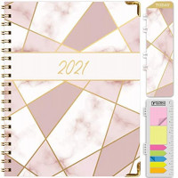 """HARDCOVER 2021 Planner: (November 2020 Through December 2021) 8.5""""x11"""" Daily Weekly Monthly Planner Yearly Agenda. Bookmark, Pocket Folder and Sticky Note Set (Pink Mosaic) : Office Products"""