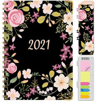 "HARDCOVER 2021 Planner: (November 2020 Through December 2021) 5.5""x8"" Daily Weekly Monthly Planner Yearly Agenda. Bookmark, Pocket Folder and Sticky Note Set (Black Floral) : Office Products"