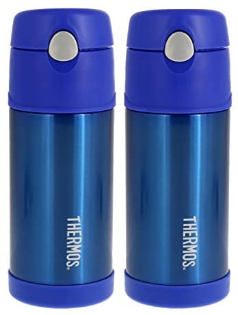 Thermos FUNtainer Vacuum Insulated Stainless Steel Kids Drinkware Bottle with Straw - Tasteless and Odorless, BPA Free, Great for Children (Metallic Blue, 12 ounce): Kitchen & Dining