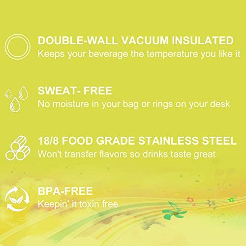 OSVAW Sports Insulated Water Bottle for Kids with Flip Lid, Stainless Steel Double Wall Vacuum Insulated, Sweat Proof Design Keeps Liquids Hot or Cold (Yellow, 12oz): Kitchen & Dining