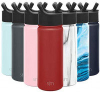 Simple Modern Insulated Water Bottle with Straw Lid 1 Liter Reusable Wide Mouth Stainless Steel Flask Thermos, 32oz, Ombre: Wildberry: Kitchen & Dining