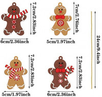 SUSSURRO 24 Pieces Gingerbread Gingerman Christmas Ornaments Clay Figurine Christmas Ornaments Christmas Xmas Tree Hanging Ornament for Holiday Decorations: Home & Kitchen