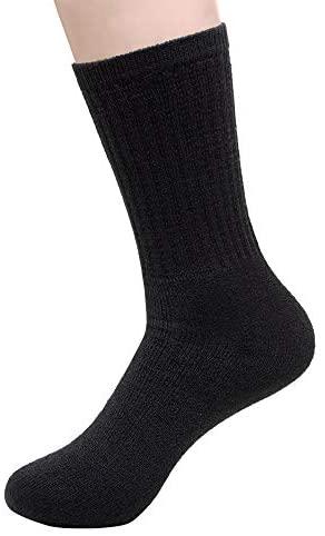 96 Pairs - Bulk Socks Wholesale Case Men's Crew Cut Size 9-11 in Black at Men's Clothing store