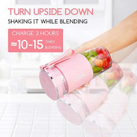 Portable Blender, Cordless Personal Blender Juicer, Mini Mixer, Smoothies Maker Fruit Blender Cup With USB Rechargeable, 10oz/300ml for Home, Office, Sports, Travel, Outdoors, by Aeitto, Pink: Kitchen & Dining