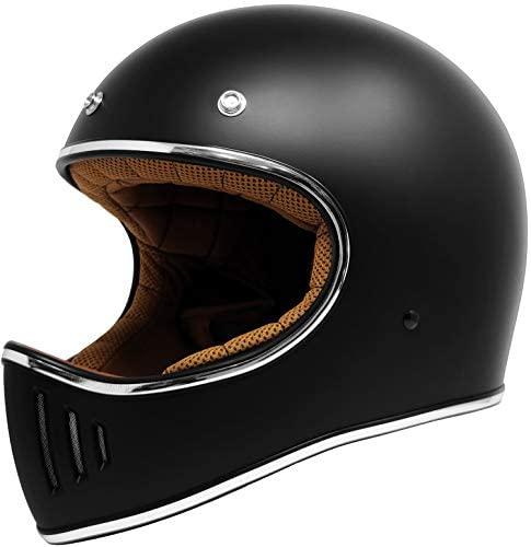 GDM REBEL Vintage Motorcycle Helmet Retro Full Face (Matte Black, XXL): Automotive