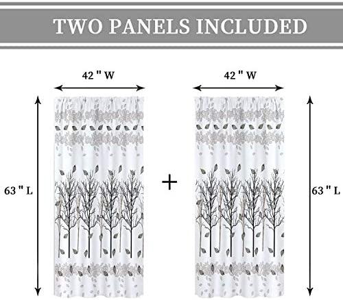 Cinbloo Black Tree Branch Curtains Rod Pocket Leaves Botanical Nature Plant Pattern Modern Art Printed Living Room Bedroom Window Drapes Treatment Fabric 2 Panels 42 (W) x 63(L) Inch: Furniture & Decor