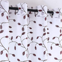 "KEQIAOSUOCAI Coral Leaf Sheer Curtains Panels - Fashion 63"" Length Flax Linen Look Embroidery Semi Sheer Curtains Tree Branch Drapes for Kid Room Set of 2 Panels,Grommet Top: Home & Kitchen"