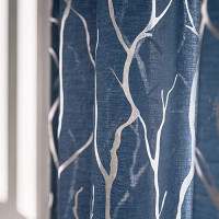 Tree Branch Sheer Curtains for Living Room - Metallic Silver Tree Pattern Light Grey Curtains 84 Inch Length for Bedroom Rod Pocket Sheer Tree Window Curtains, 52 x 84 Inch, 2 Panels, Gray,by FINECITY: Furniture & Decor