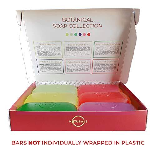 O Naturals Transparent Bar Soap Collection. 6-Pack Botanical Natural Soap Gift Box. Vegan, Vegetable Glycerin, Cleansing Moisturizing Essential Oils Bar Soap, for Men and Women 4.2oz : Beauty