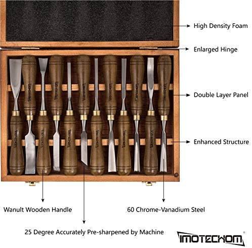 IMOTECHOM 12-Pieces Woodworking Wood Carving Tools Chisel Set with Walnut Handle, Wooden Storage Case