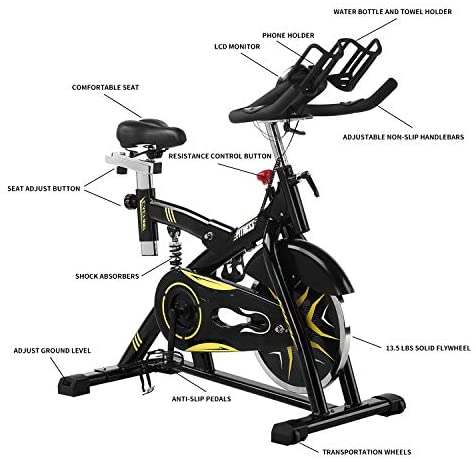 Wesfital Exercise Bike Stationary Belt Drive Indoor Cycling Bike Flywheel Resistance Cycle Bike Spin Bike for Home Cardio Workout (Yellow, Black, Chrome) : Sports & Outdoors