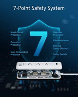 Anker Power Strip with USB for Home Office, 3-Outlet & 3 PowerIQ USB Power Strip Surge Protector, PowerPort Strip 3 with 5 Foot Long Extension Cord, Flat Plug, Safety Shutter: Electronics