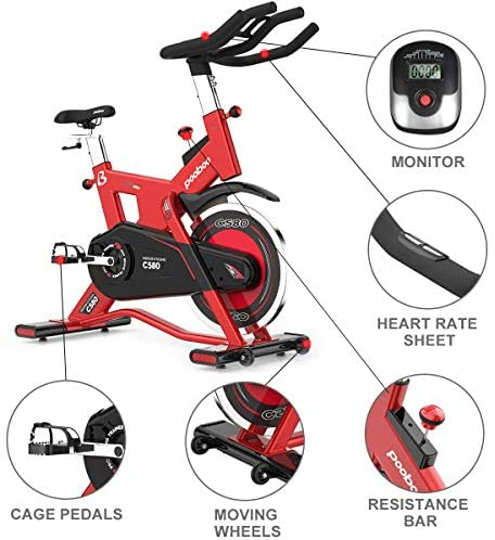 L NOW Indoor Cycling Bike Exercise Bike Stationary Commercial Standard with 40lb Flywheel, Ipad Mount, Soft Cushion, LCD Display, Belt Drive Smooth and Quiet(C580) : Sports & Outdoors