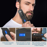 Beard Straightener, Cordless Beard Straightening Comb with Long Battery Life, Anti Scald/Rechargeable/Portable/Durable/LCD Display for Travel& Home : Beauty