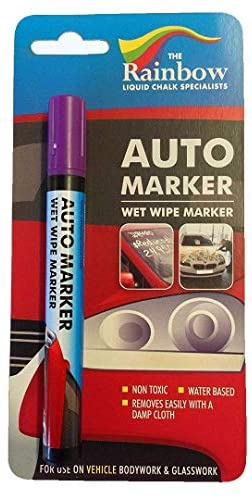 Car Paint Marker Pens Auto Writer Black - Wide Tip - All Surfaces, Windows, Glass, Tire, Metal - Any Automobile, Truck or Bicycle, Water Based Wet Erase Removable Markers Pen: Home & Kitchen