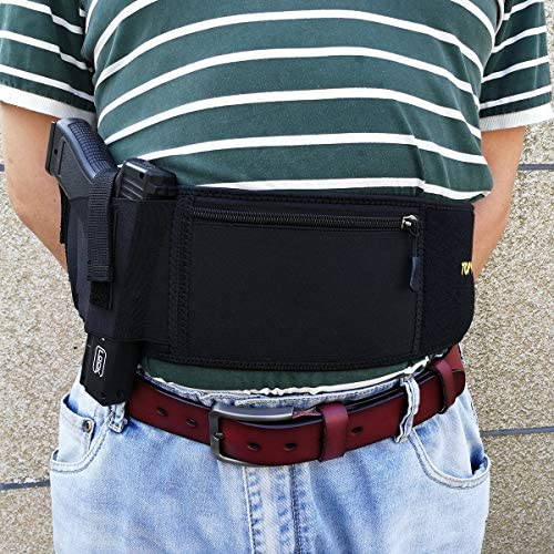 Belly Band Pistol Holsters for Concealed Carry, with Tactical Magazine Pouch Fits Glock 19 43 26 42 27, S&W M&P Bodyguard 380 38 Special Shield 9mm 1911 Revolver Sig Springfield Xd Ruger Sauer - Black : Sports & Outdoors