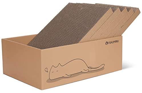 FUKUMARU Cat Scratcher Cardboard 5 PCS with Box, Reversible Cat Scratch Pad, Kitty Corrugated Scratching Bed : Pet Supplies