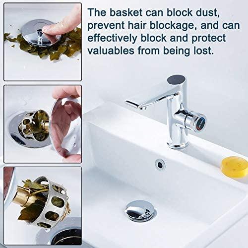 Basin Pop Up Drain Filter Universal Wash Basin Bounce Drain Filter Universal Sink Drain Strainer for Kitchen Bathroom Pop-up Sink Drain Stopper Kitchen 2 in 1 Sink Drain Plug with Basket 2PCS