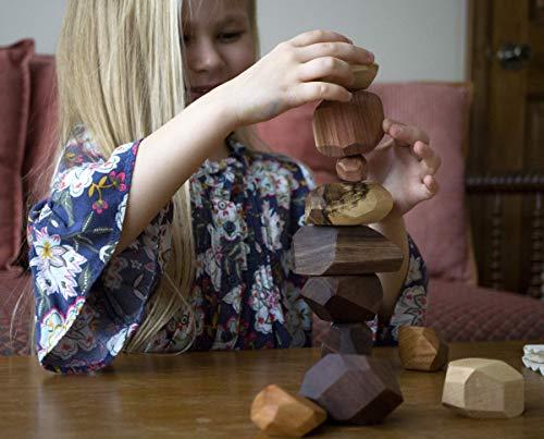 Tumi Ishi 17 Piece Wood Rock Set - Mixed Wood Species - Balancing Blocks - Natural Wood Toy - Organic Jojoba oil and Beeswax Finish - Handmade Wooden Toys - Sensory Toy - USA Made - Personalizable: Handmade