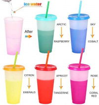 Color Changing Cups(5 pack)24oz Colored Reusable Cups with Straws and Lids BPA Free Magic Tumbler with Straw Cleaner and Sponge Cleaning Brush: Kitchen & Dining