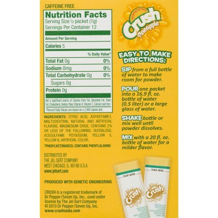 PACK OF 24 - Crush Singles To-Go Drink Mix, Pineapple, .45 Oz, 6 Packets, 1 Count : Grocery & Gourmet Food