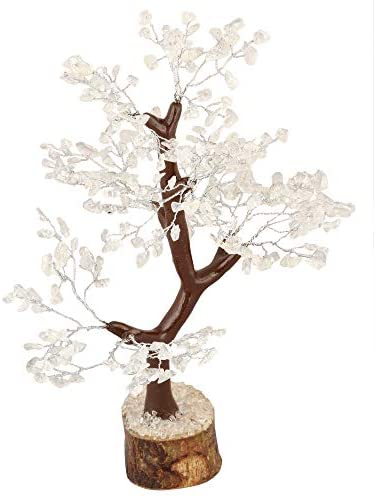 Crocon Clear Quartz Gemstone Money Tree Feng Shui Bonsai for Reiki Healing Chakra Stone Balancing Energy Generator Spiritual Meditation Home Interior Office Decor Size 10-12 Inch: Home & Kitchen