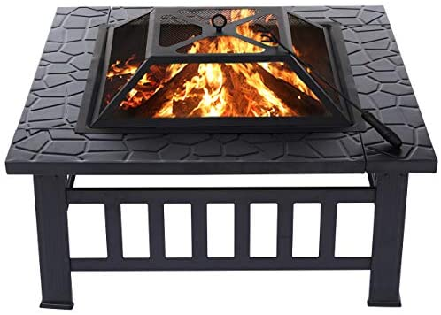 KINGSO 34'' Outdoor Fire Pit Metal Square Firepit Patio Stove Wood Burning BBQ Grill Fire Pit Bowl with Spark Screen Cover, Log Grate, Poker for Backyard Garden Camping Picnic Bonfire : Garden & Outdoor