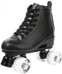 XUDREZ Roller Skates for Women Men High-top PU Leather Roller Skates Shiny Four Wheels Roller Derby Skates White Black Roller Skates for Girls Boys : Sports & Outdoors