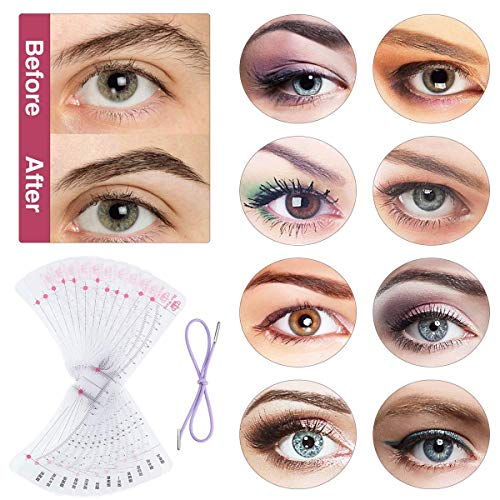 Eyebrow Stencil, 12 Pcs Reusable Eyebrow Template With Strap, Eyebrow Shaping Kit Washable Eyebrow Assistant Tool, Eyebrows Grooming Stencil Kit Eyebrow Drawing Guide Card Microblading Template &1 Rozor : Beauty
