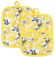 Sage and Stitch Kitchen Pot Holders for Women 7'' x 9'' with Hand Pockets and Hanging Loop, Dual Function Oven Mitt Trivet Potholder Hot Pad 100% Cotton, Heat Resistant Set of 2 - Yellow Lemons: Home & Kitchen