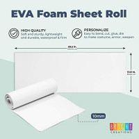White EVA Foam Sheets Roll for Cosplay, Costumes, Crafts, DIY Projects (10mm, 13.75 x 39 in): Arts, Crafts & Sewing