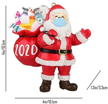 2020 Christmas Ornament Santa Wearing Mask in Quarantine! Keepsake Unique Luxury Ornament for Tree,Personalized Survived Xmas Tree Hanging Home Decorations Holiday Decor Gift (Multicolor, 1PCS): Kitchen & Dining