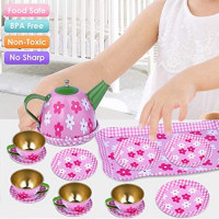 GINMIC Pretend Tin Tea Party Set for Girls, 15-Pieces Tea Set with Pink Party Purse, Perfect Pretend Play Toys Mini Kitchen Playset for Toddlers, Kids and Little Girls Age 2 3 4 5 6 7 Years: Toys & Games