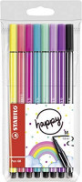 Stabilo Pen 68 Living Colours Drawing Felt Pens Pack of 8 Medium Tip Rainbow Design : Office Products