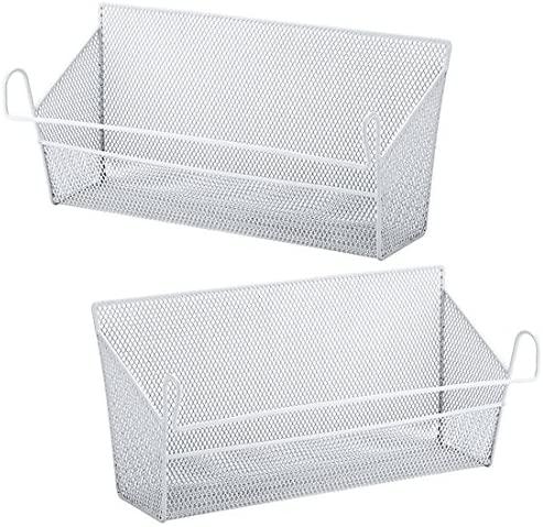 RuiyiF 2 Pack Bunk Bed Storage Basket,Dormitory Bedside Storage Baskets Metal Desk Corner Organizer Hanging with Hook for Phones Tissues Water Bottle (White): Home & Kitchen